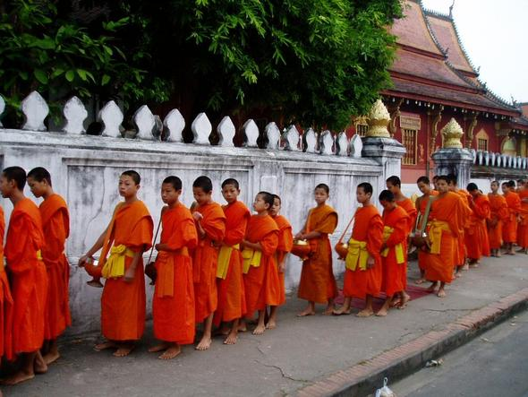 morgendliche Mönchspeisung in Luang Prabang - (Asien, Kambodscha, Laos)