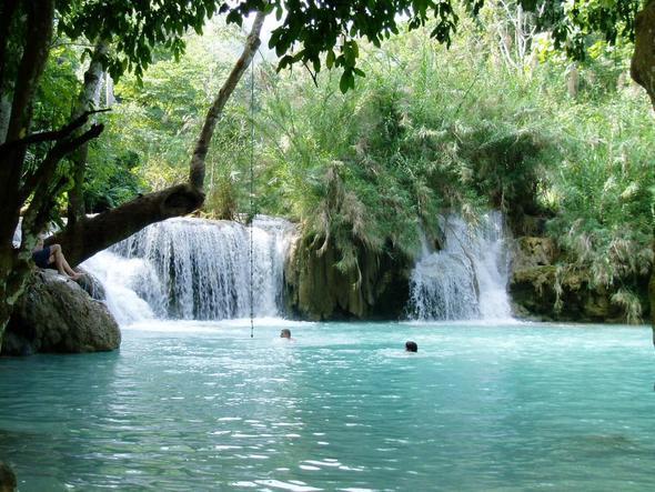 Kuang Si Wasserfälle - (Asien, Laos, Wasserfall)