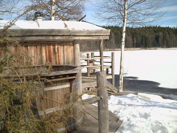 sauna und badetonne am see - (Deutschland, Winter, Skandinavien)