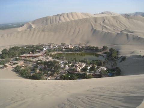 Die Oase Huacachina in Peru. Hier gibt es tolle Dünen zum Sandboarden. - (Sand, Sandboarden, Boarden)