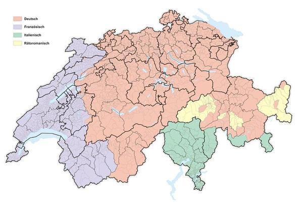 Karte: Sprachen der Schweiz - (Schweiz, Kultur, Sprache)