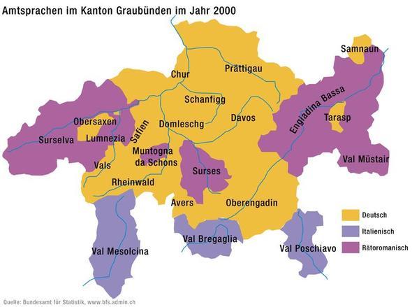 Karte: Sprachen des Kanton Graubünden - (Schweiz, Kultur, Sprache)