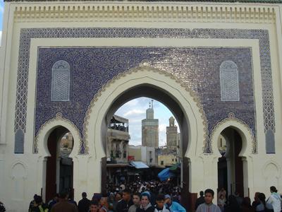 Eingang durch das blaue Tor zur Medina von Fes - (Afrika, Marokko, Königspaläste)