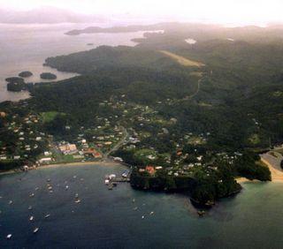 Blick auf Steward Island - (Insel, Neuseeland, Fähre)