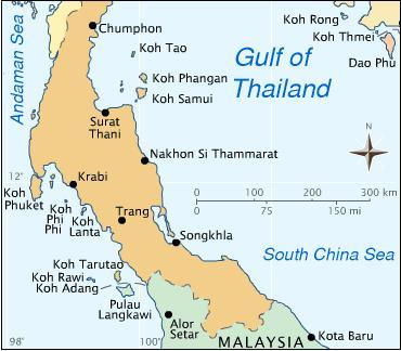 Map of Southern Thailand - (Asien, Insel, Thailand)