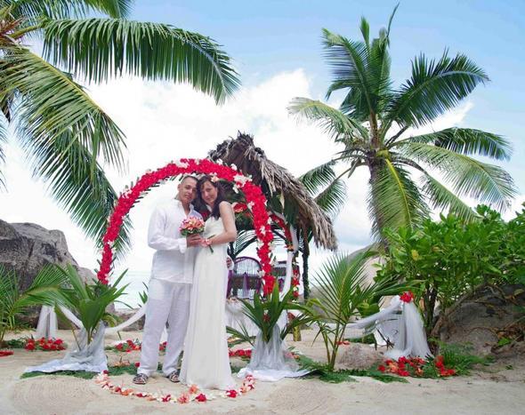 Hochzeit unter Palmen auf den Seychellen. - (Reiseziel, Karibik, Hochzeit unter Palmen)