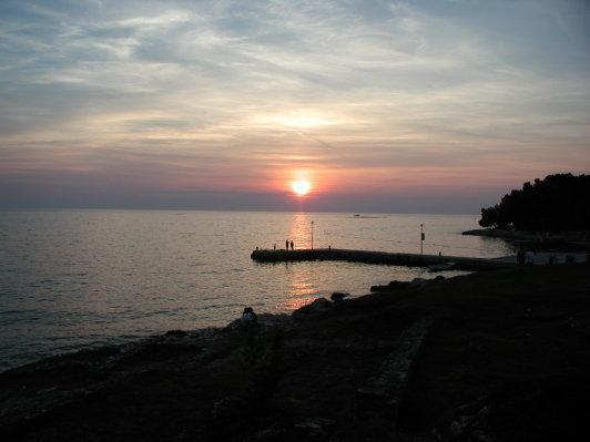 Abdendstimmung vom Restaurant aus gesehen - (Europa, Kroatien, Urlaub am Meer)