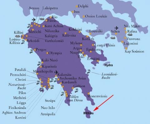Kythera Karte Peloponnes - (Insel, Griechenland, Sandstrand)