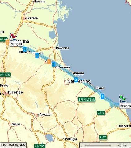 Bologna-Ancona ( Rimini ist mit orange markiert ) - (Italien, Autobahn, Motel)
