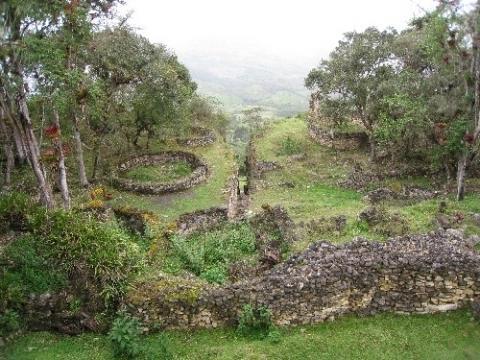 Kuelap in Peru: Die Ruinen sind zum teil noch bewachsen. - (Sehenswürdigkeiten, Südamerika, Lateinamerika)
