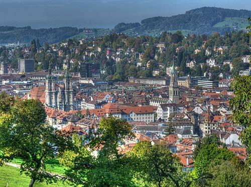 Aussicht von den Drei Weihern, St. Gallen (Schweiz) - (Schweiz, Cafe, St. Gallen)