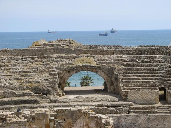 Blick übers Amphitheater von Tarragona aufs Meer - (Spanien, Tagesausflug, Katalonien)