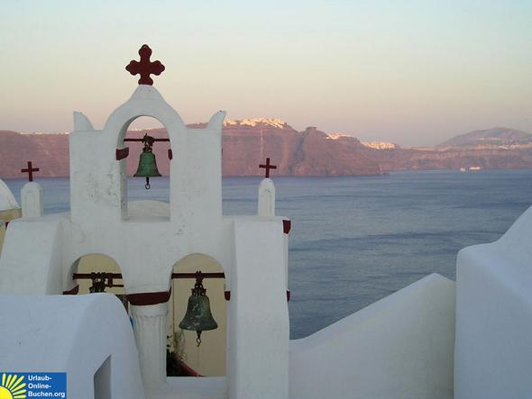 santorin: blick von oia über die caldera - richtung fira - (Griechenland, Kreta, Griechische Inseln)