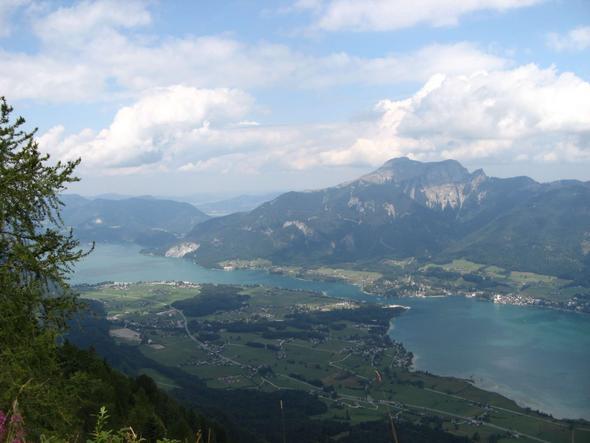 Blick vom Bleckwand-Kamm auf den Wolfgangsee, dahinter der Schafberg. - (Österreich, Wanderung, Aussicht)