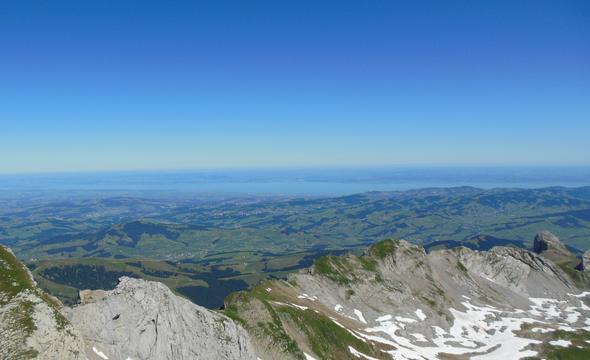 Blick vom Säntis auf den Bodensee - (Schweiz, Ausflug, Kanton)