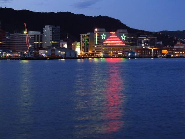 Jahreswechsel-'Skyline' im Hafen von Wellington - (Neuseeland, Jahreswechsel)