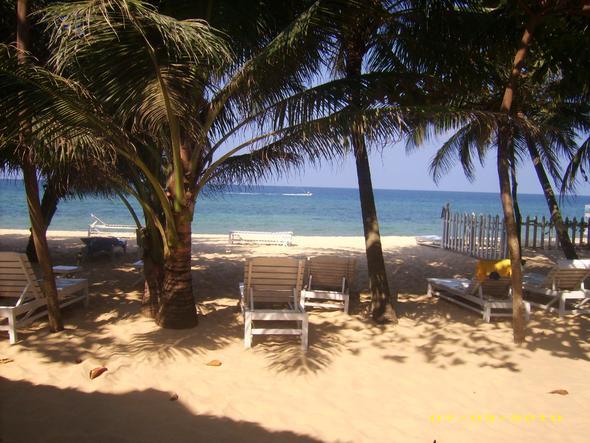 Blick vom Bett zum Strand - (Vietnam, Phu Quoc)