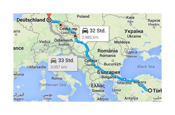 Route DL - Türkei - (AutoReise Türkei, Deutschland-Türkei Auto)