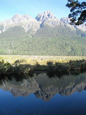 Die Mirror Lakes auf der Straße nach Milford Sound - (Neuseeland, Milford Sound)