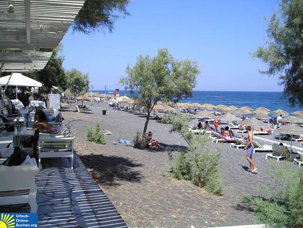 Strand Kamari, Santorin - (Urlaub, Insel, Griechenland)
