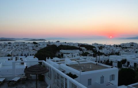 Rochari - Blick auf Stadt - (Urlaub, Insel, Griechenland)