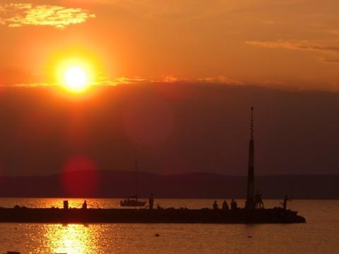 Sonnenuntergang Balatonszemes - (Campingplatz, angeln, Balaton)