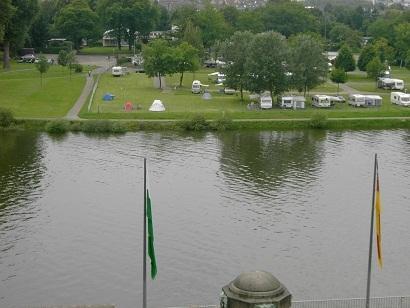 Blick von DeutschenEck zum Campingplatz Koblenz - (Camping Mosel, radtour Mosel)